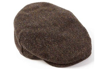 Brown Wool Harris Tweed Flat Cap