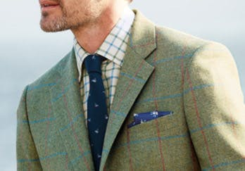 Close Up of Green Tweed Jacket