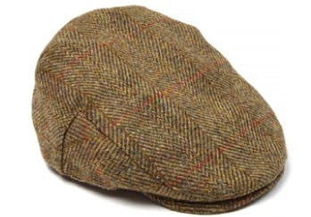 Olive/Green Harris Tweed Flat Cap