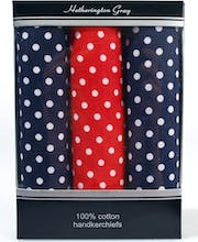 3 Boxed Polka Dot Handkerchiefs