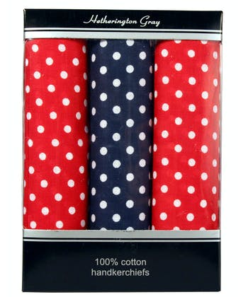 3 Boxed Polka Dot Handkerchiefs - Mixed Red/Blue
