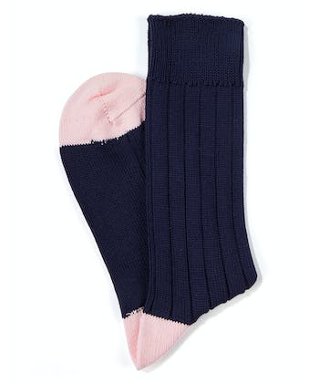 Heel & Toe Cotton Socks - Navy/Pink