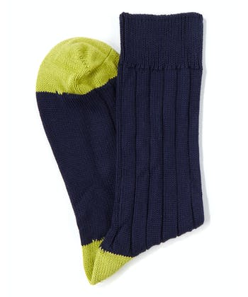 Heel & Toe Cotton Socks - Navy/Lime