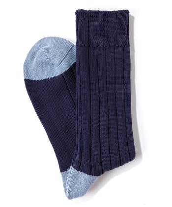 Heel & Toe Cotton Socks - Navy/Sky