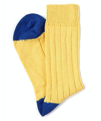 Heel & Toe Cotton Socks - Yellow/Royal
