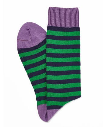 Stripey Cotton Socks - Green/Navy
