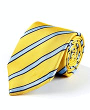 Yellow/Sky Stripes - Woven Silk Tie
