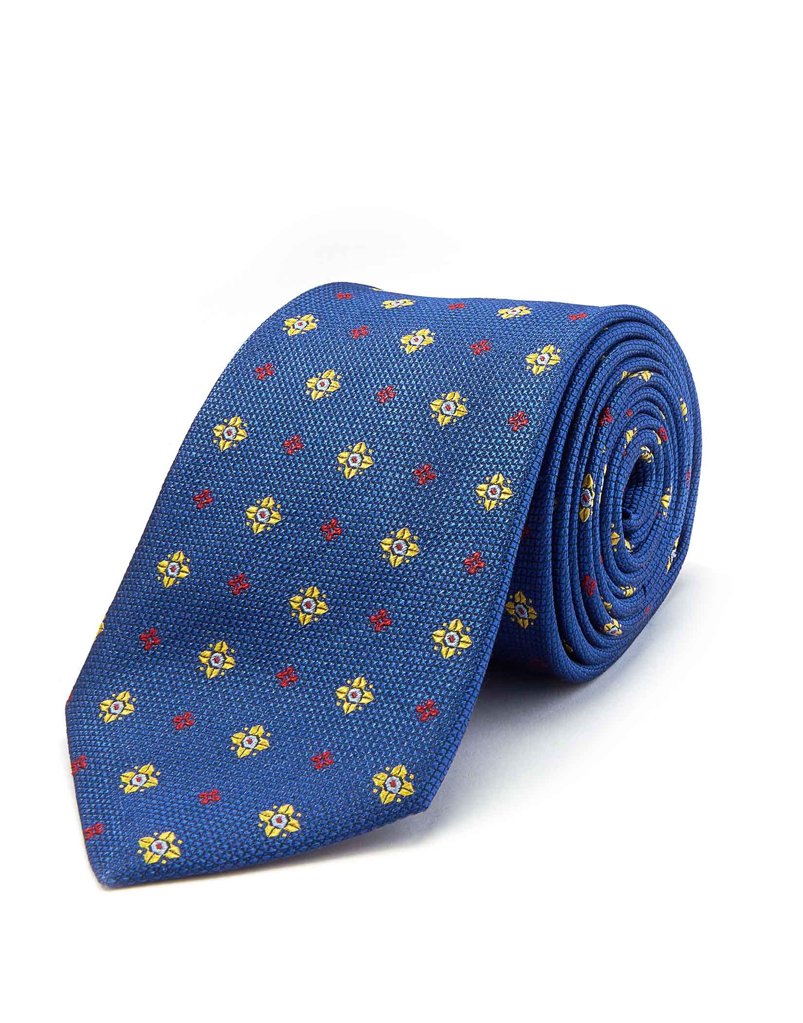 Royal/Red/Yellow Floral - Woven Silk Tie