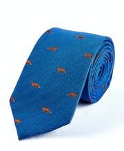Foxes on Blue - Wool/Silk Tie