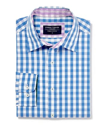 Casual Gingham Check Shirt - Blue