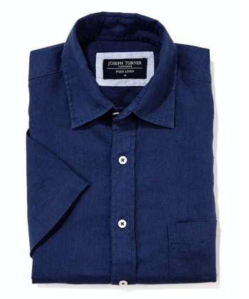 Linen Shirt - Short Sleeve - Navy