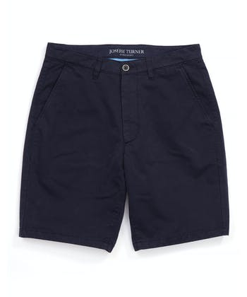 Cotton Twill Shorts - Flat Front - Navy