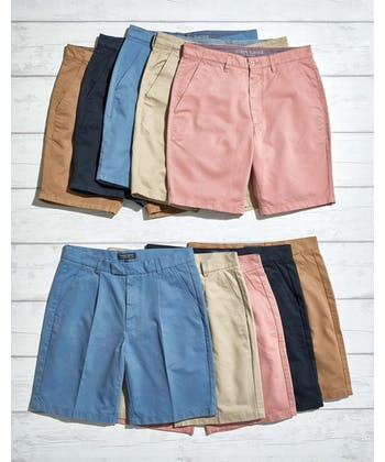 Cotton Twill Shorts - Flat Front - Dusty Pink