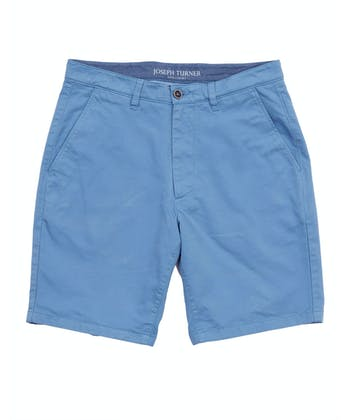 Cotton Twill Shorts - Flat Front - Blue