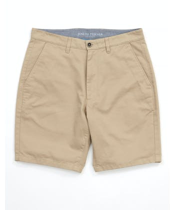 Cotton Twill Shorts - Flat Front - Pebble
