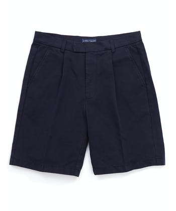 Cotton Twill Shorts - Pleat Front - Navy