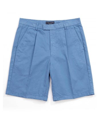 Cotton Twill Shorts - Pleat Front - Blue