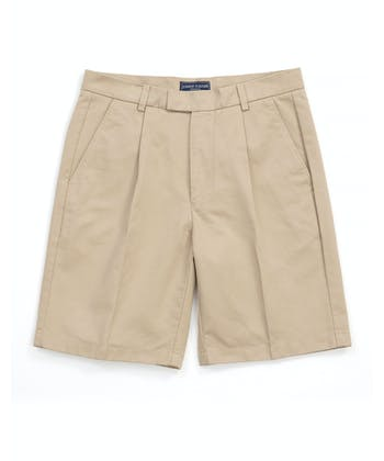 Cotton Twill Shorts - Pleat Front - Pebble