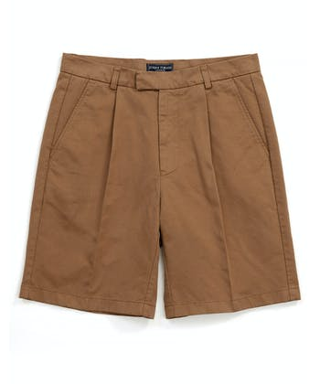 Cotton Twill Shorts - Pleat Front - Tan