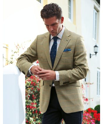 Summer Tweed Jacket - Gold/Coral Check