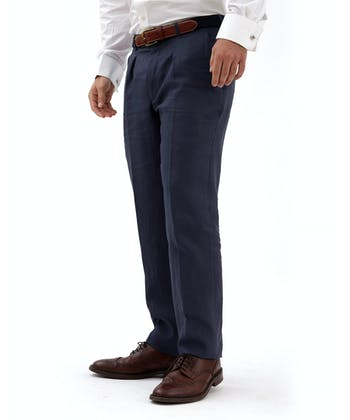 Linen Suit Trousers - Navy