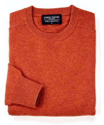 Lambswool Jumper - Crew Neck - Burnt Orange