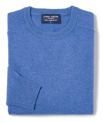 Lambswool Jumper - Crew Neck - Mid Blue