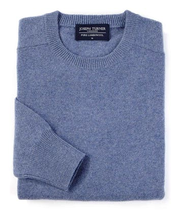 Lambswool Jumper - Crew Neck - Sky