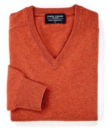 Lambswool Jumper - V Neck - Burnt Orange