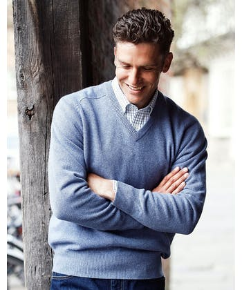 Lambswool Jumper - V Neck - Sky