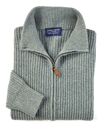 Lambswool Whitby Zip Cardigan - Sea Green