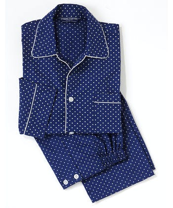 Pyjamas - Navy/White Polkadot (Fine Cotton)