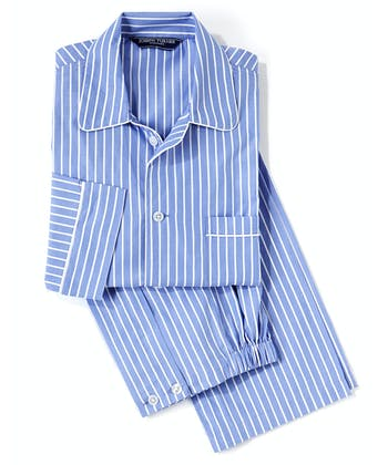 Pyjamas - Blue/White Stripe (Fine Cotton)