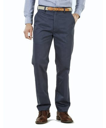 Flat Front Chinos - Navy