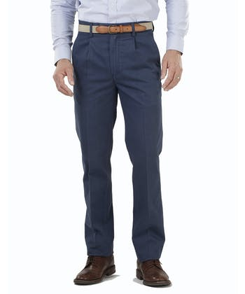 Pleated Front Chinos - Navy