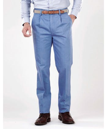Pleated Front Chinos - Blue