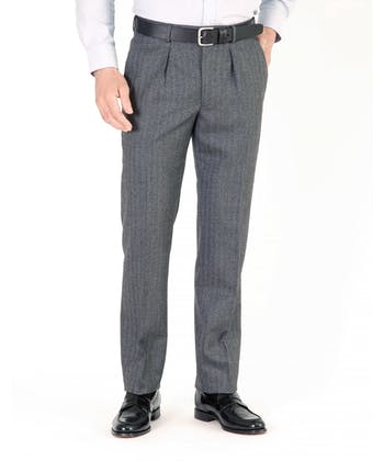 Flannel Trousers - Grey Herringbone