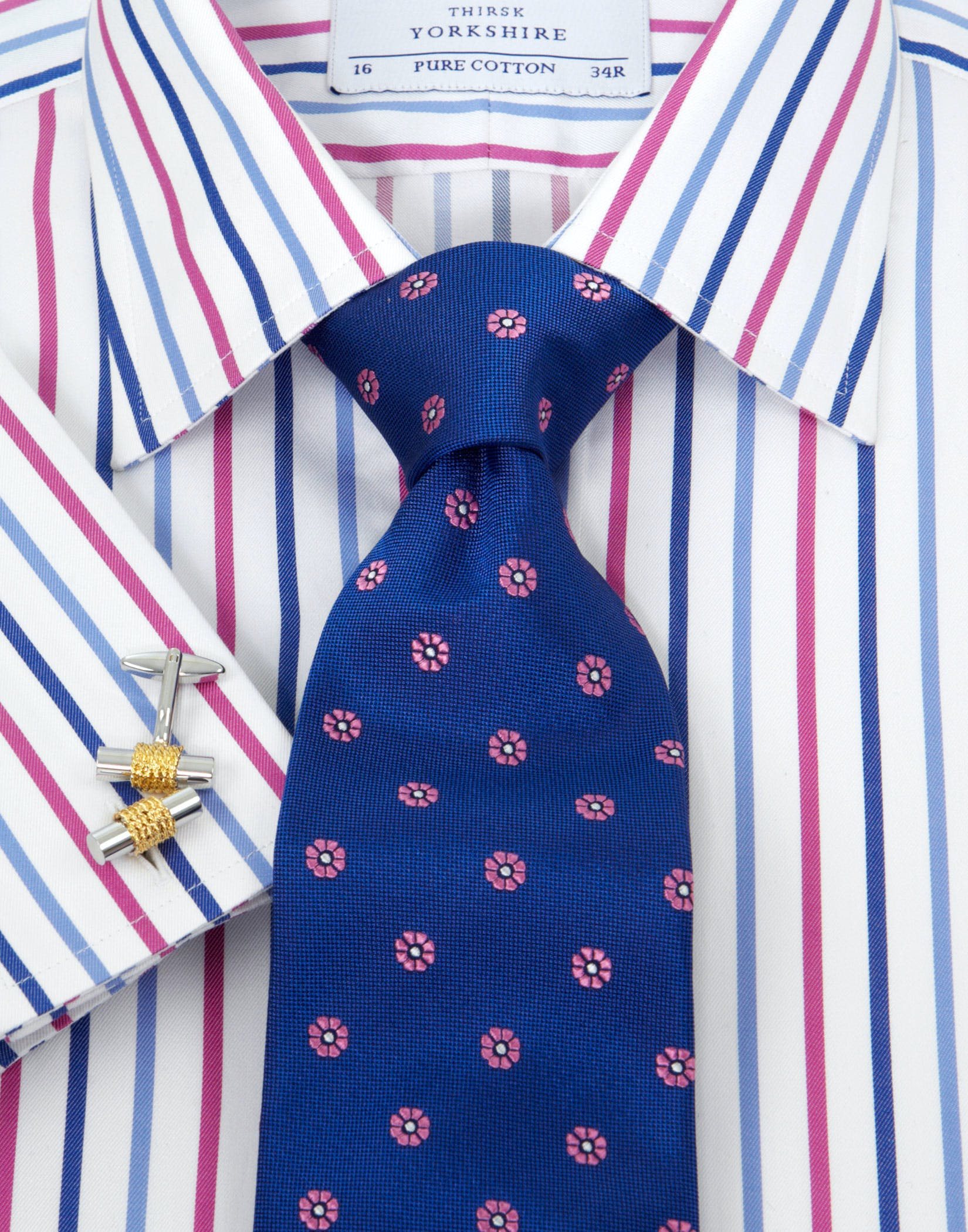 Blue/Pink Twill Stripe Shirt