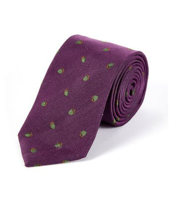 Acorns on Purple - Woven Silk Tie