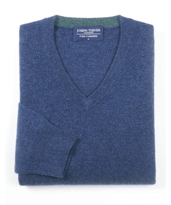 Cashmere V-Neck - Blue