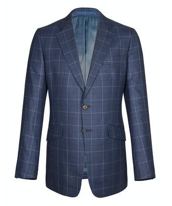 Wool/Linen Jacket - Blue Windowpane