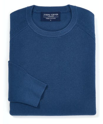 Ribbed Cotton Jumper - Crew-Neck - Blue