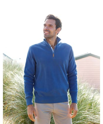 Ribbed Cotton Jumper - Half-Zip - Navy