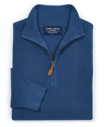 Ribbed Cotton Jumper - Half-Zip - Blue