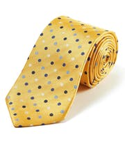 Blue Dots on Yellow - Woven Silk Tie