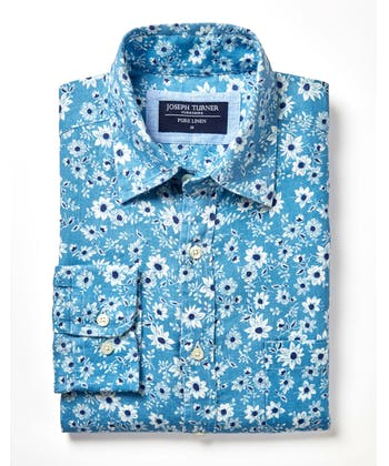 Linen Shirt - Long Sleeve - Blue Floral