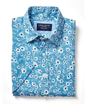 Linen Shirt - Short Sleeve - Blue Floral