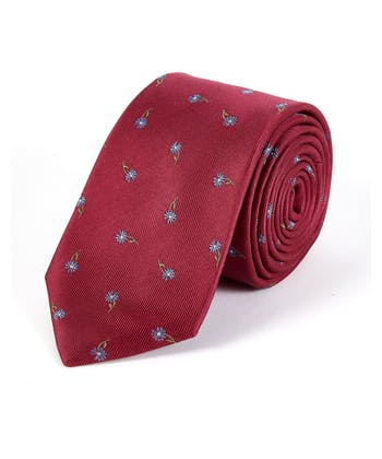Blue Flowers on Red - Woven Silk Tie