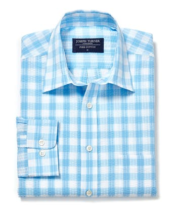 Seersucker Shirt - Long Sleeve - Blue Gingham