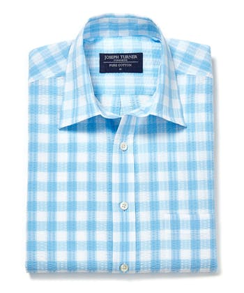 Seersucker Shirt - Short Sleeve - Blue Gingham